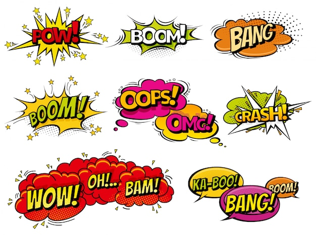 Comic book explosion speech bubbles cartoons