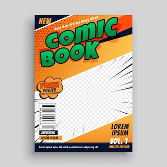 Comic book magazine cover page template