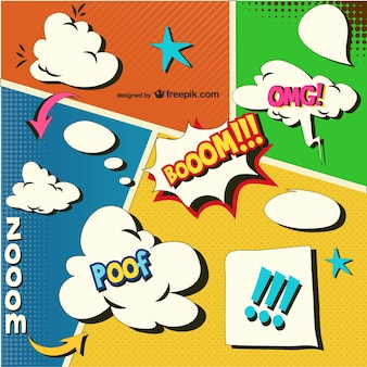 Comic book onomatopoeias and speech bubbles