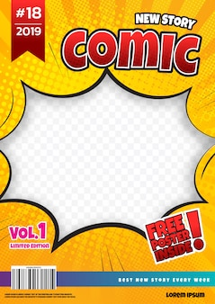 Comic book page design. magazine cover