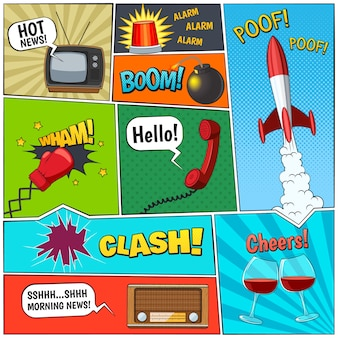 Comic book page panels composition with rocket and two vine glasses with speech balloons abstract vector illustration