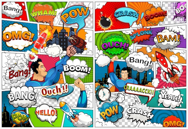 吹き出し、ロケット、スーパーヒーロー、効果音の行で分割された漫画本のページテンプレート。レトロなイラスト