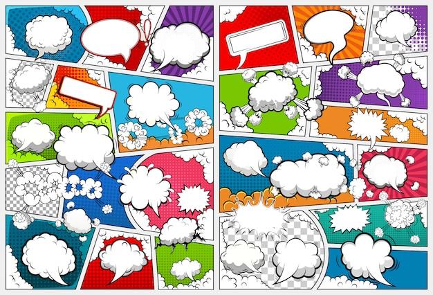 Шаблон страницы комиксов, разделенный линиями с речью пузыри.