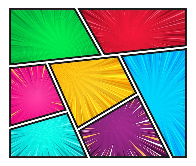 광선 레트로 팝 아트 스타일이 있는 선으로 나누어진 다채로운 프레임의 만화 페이지 템플릿