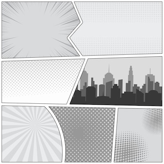 Comic book page template with cityscape rays radial dotted halftone effects in gray colors.