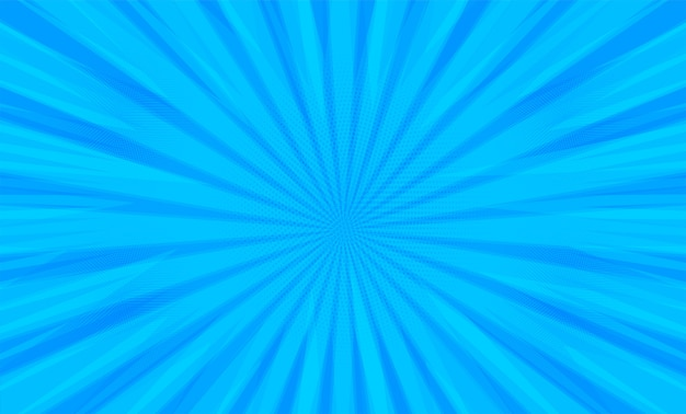 Comic book pop art strip radial on blue background