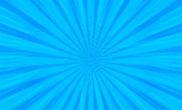青い背景に放射状のコミックブックポップアートストリップ