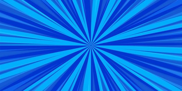 青に放射状の漫画本ポップアートストリップ