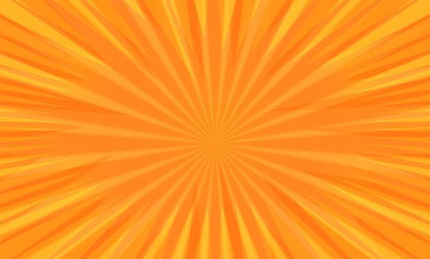 オレンジ色の背景に放射状のコミックブックポップアートストリップ
