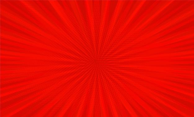 赤い背景に放射状のコミックブックポップアートストリップ