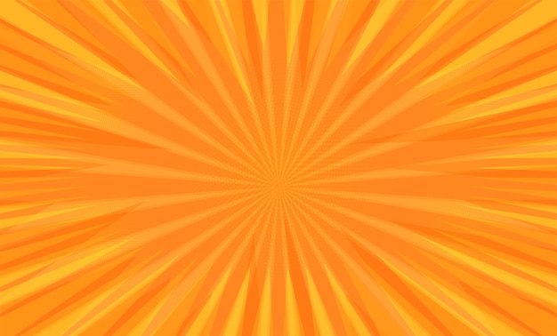 Comic book pop art strip radial on orange background