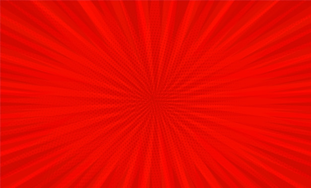 Comic book pop art strip radial on red background