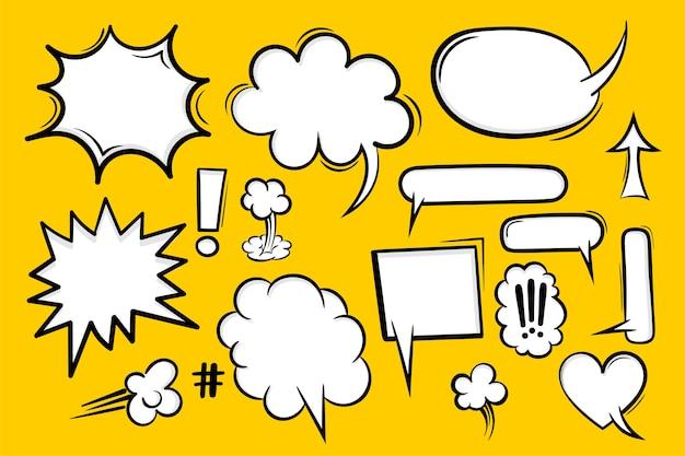 Comic book set text speech bubble in pop art style.
