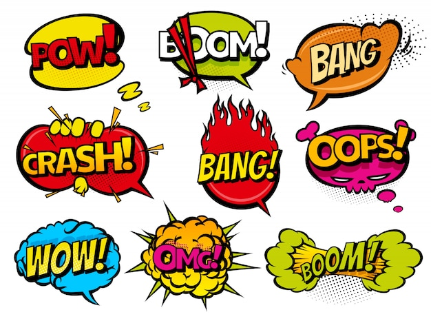 Comic book sound effect speech bubbles