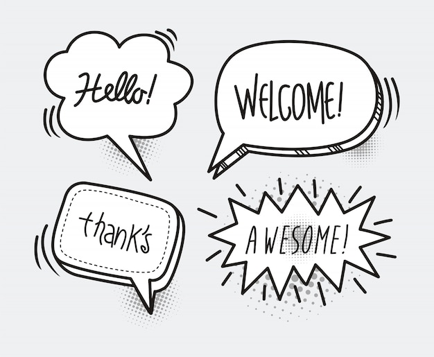 Comic book speech bubble cartoon word hello, welcome, thanks, awesome