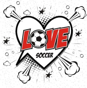 Comic book speech bubble cartoon word love soccer
