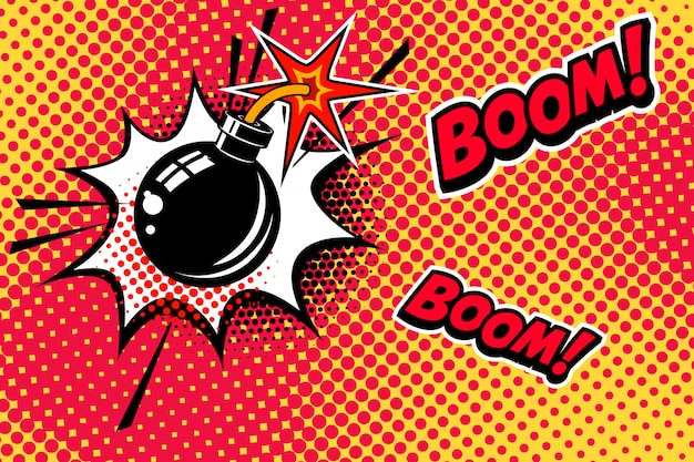 폭탄 폭발과 함께 만화 스타일 배경입니다. 배너, 포스터, 전단지 요소입니다. 영상