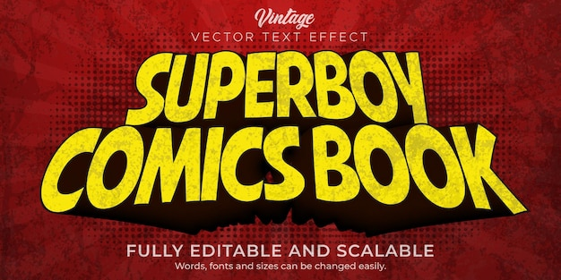 Comic book text effect, editable retro and vintage text style