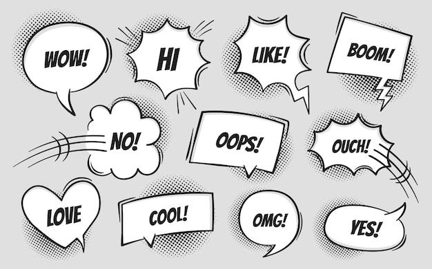 Комикс текст речи пузырь в стиле поп-арт с тенями полутонов. talk chat ретро говорить сообщение с различным выражением текста. стиль ретро поп арт
