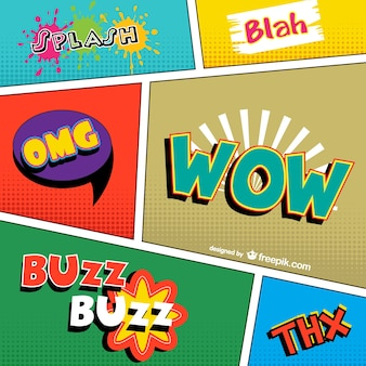 Comic book words Free Vector