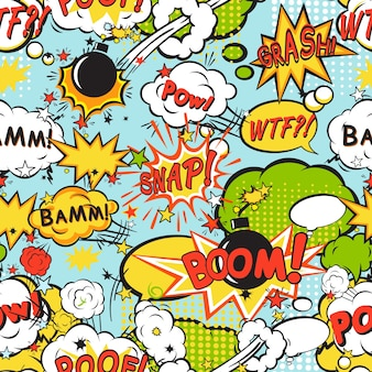 Comic boom seamless pattern