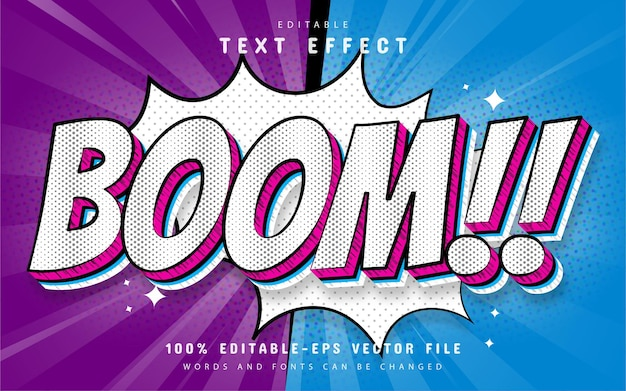 Comic boom text effect editable