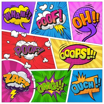 Comic bright template with speech bubbles on colorful frames