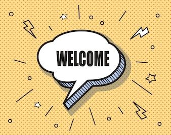 Comic bubble speech . Lettering Welcome comic text