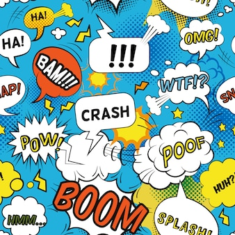 Comic bubbles pattern with emotional words and sounds flat seamless