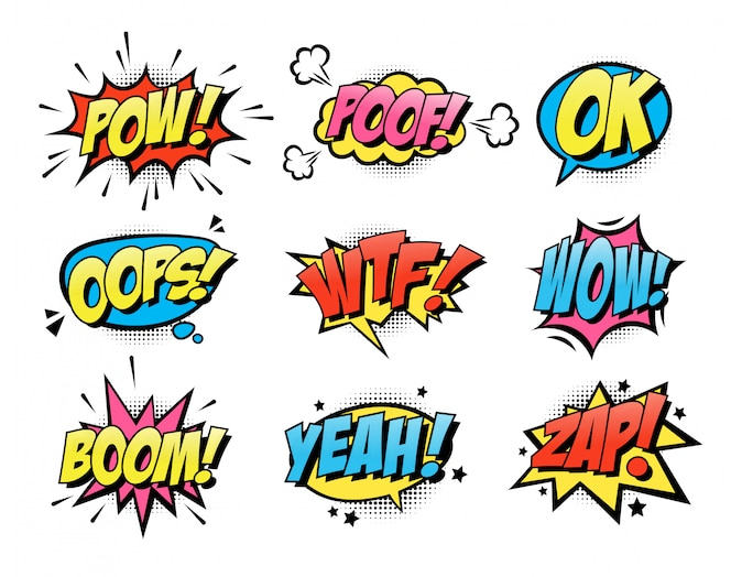 Comic burst text balloons flat icon collection