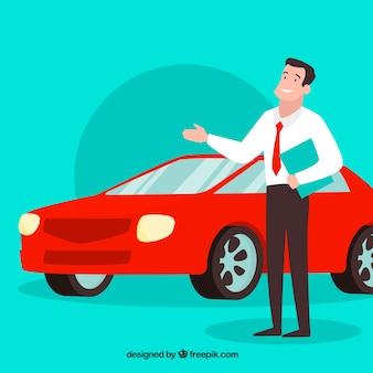Comic car salesman design