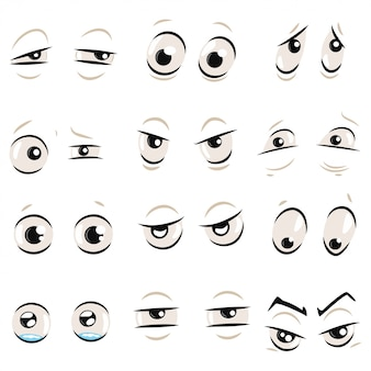 Comic cartoon eyes with eyebrows set isolated on a white  .   illustration of emotions: angry, sad, surprised, mad, funny, evil, confused, crying and others.