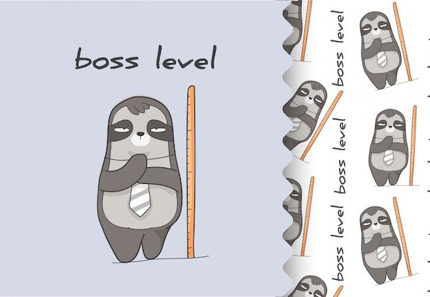 Комикс мультфильм плоский животный ленивец большой босс