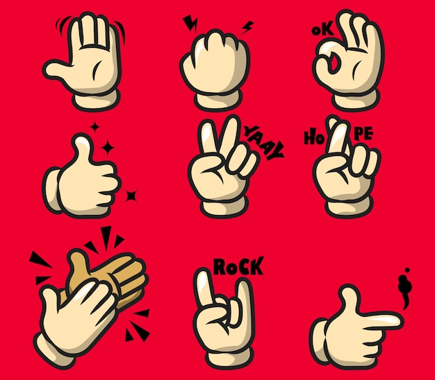 Comic cartoon hand gesture
