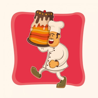 Comic chef with cake