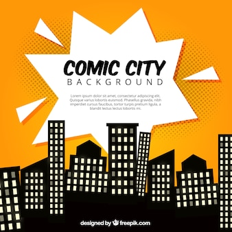 Comic city with silhouettes of buildings