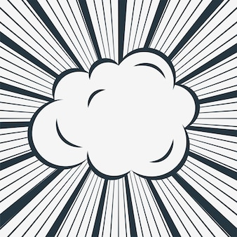 Comic cloud on zoom lines background
