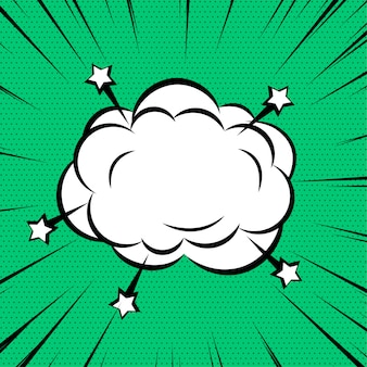 Comic cloud or smoke on zoom lines background