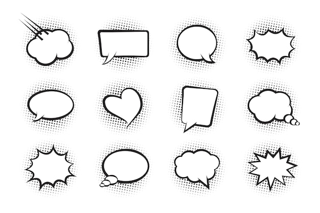 만화 구름 벡터 아이콘 흰색 만화 말풍선 세트 이야기 채팅 모음