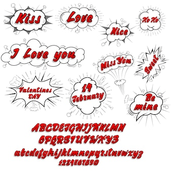 Comic collection love and font 3d, colored sound chat text effects pop art vector style. 3d font.