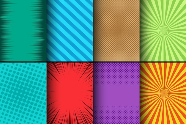 Comic colorful cards set with halftone radial striped and rays humor effects.