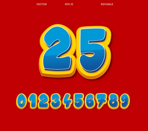 Comic editable numbers