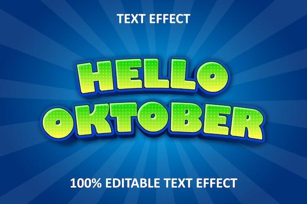 Comic editable text effect blue green yellow