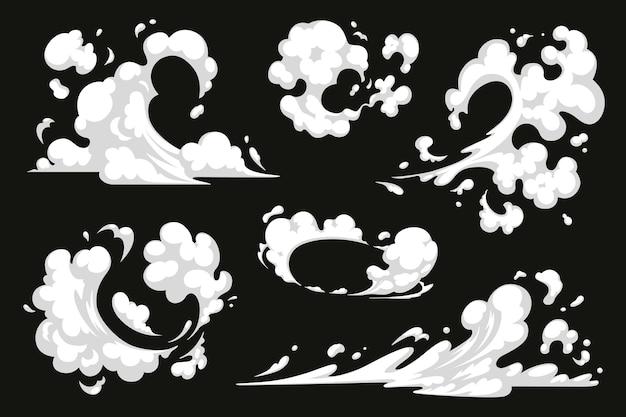 만화 폭발 효과 세트 벡터 먼지 연기 구름 만화 에너지 폭발 및 모션 속도 불꽃