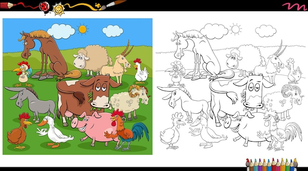 Comic farm animal characters group coloring book page