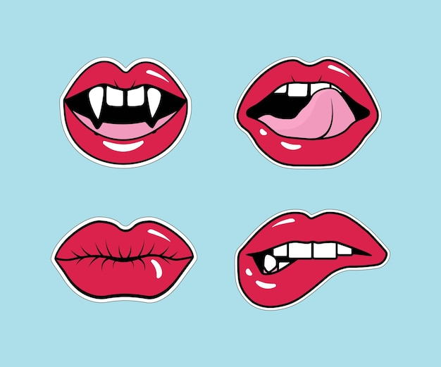 Comic female lips. mouth with a kiss, smile, tongue, vampire teeth, open, closed lips