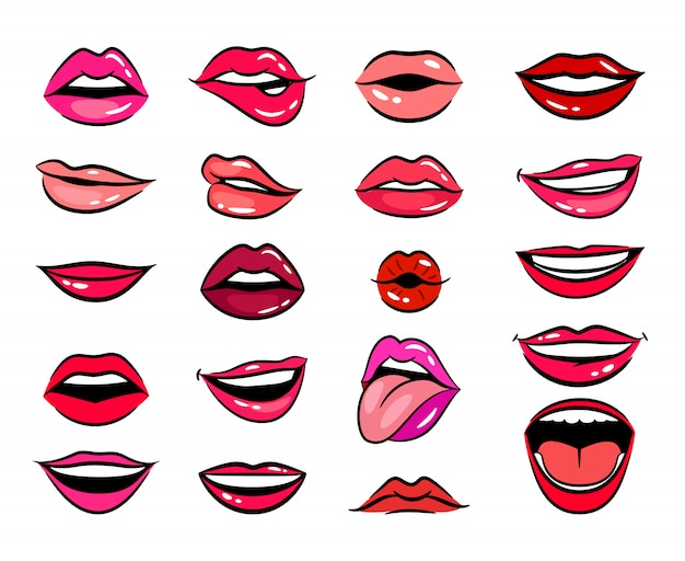 Comic female lips set