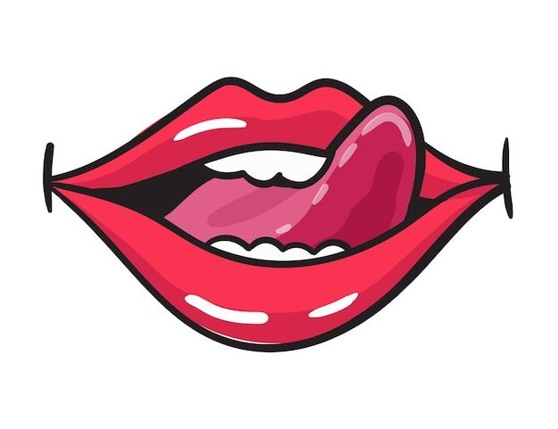 만화 여성 붉은 입술 스티커. 빈티지 만화 스타일의 립스틱으로 여자 입입니다. 롭 아트 복고풍 그림입니다.