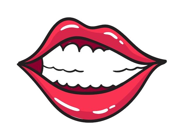 만화 여성 붉은 입술 스티커. 빈티지 만화 스타일의 립스틱으로 여자 입입니다. 미소 팝 아트 복고풍 그림입니다.