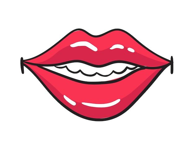 만화 여성 붉은 입술 스티커. 빈티지 만화 스타일의 립스틱으로 여자 입입니다. 스마일 팝 아트 복고풍 그림